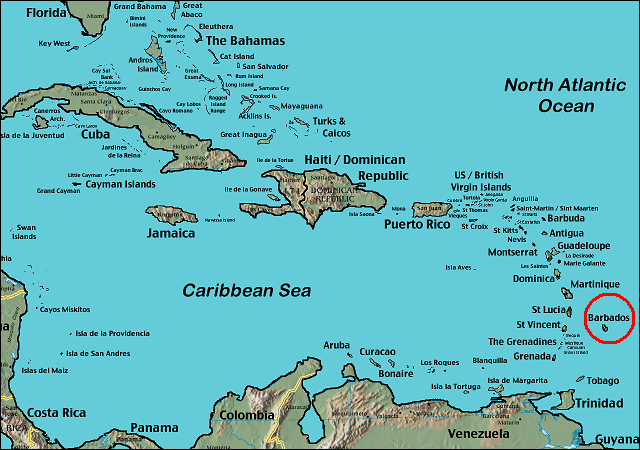 Map of the location of Barbados (circled in red) in the Caribbean